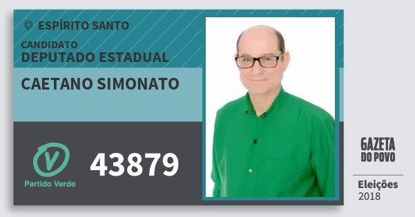 Santinho Caetano Simonato 43879 (PV) Deputado Estadual | Espírito Santo | Eleições 2018