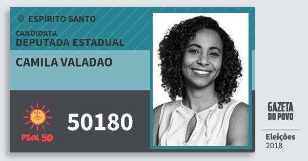 Santinho Camila Valadao 50180 (PSOL) Deputada Estadual | Espírito Santo | Eleições 2018