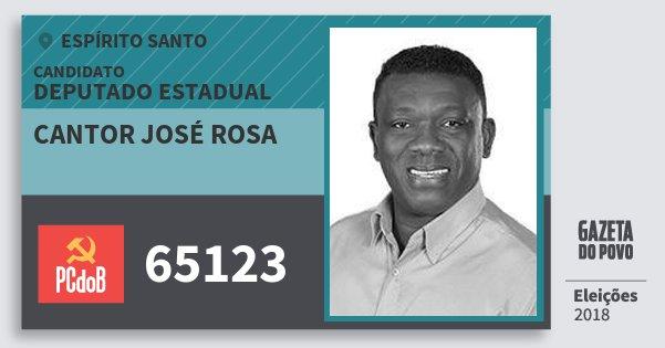 Santinho Cantor José Rosa 65123 (PC do B) Deputado Estadual | Espírito Santo | Eleições 2018