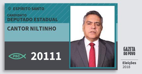 Santinho Cantor Niltinho 20111 (PSC) Deputado Estadual | Espírito Santo | Eleições 2018