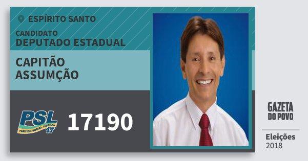 Santinho Capitão Assumção 17190 (PSL) Deputado Estadual | Espírito Santo | Eleições 2018