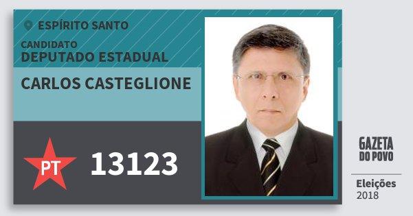 Santinho Carlos Casteglione 13123 (PT) Deputado Estadual | Espírito Santo | Eleições 2018