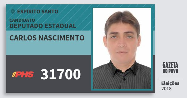 Santinho Carlos Nascimento 31700 (PHS) Deputado Estadual | Espírito Santo | Eleições 2018