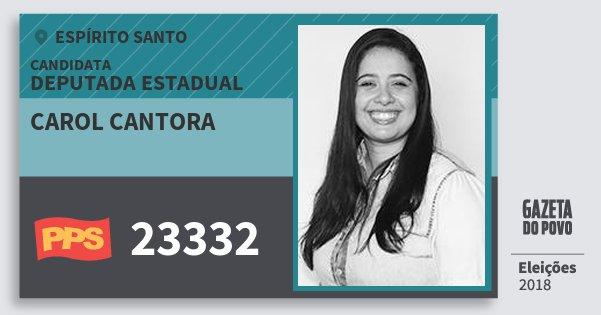 Santinho Carol Cantora 23332 (PPS) Deputada Estadual | Espírito Santo | Eleições 2018