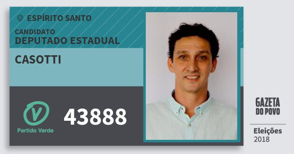 Santinho Casotti 43888 (PV) Deputado Estadual | Espírito Santo | Eleições 2018