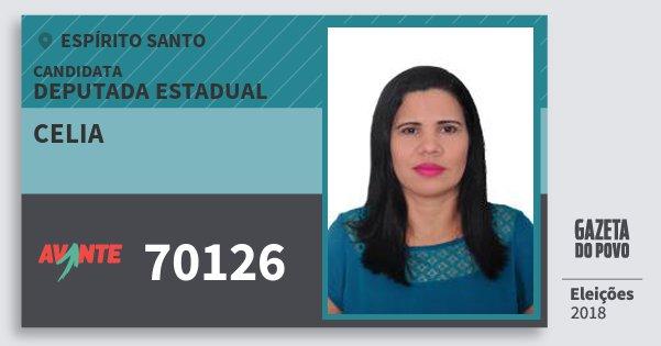 Santinho Celia 70126 (AVANTE) Deputada Estadual | Espírito Santo | Eleições 2018