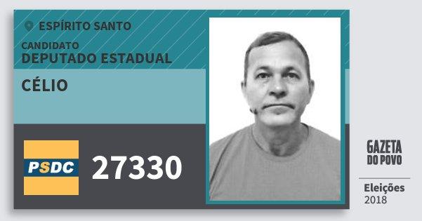 Santinho Célio 27330 (DC) Deputado Estadual | Espírito Santo | Eleições 2018