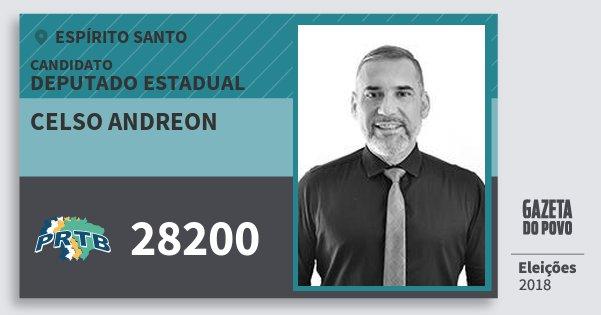 Santinho Celso Andreon 28200 (PRTB) Deputado Estadual | Espírito Santo | Eleições 2018
