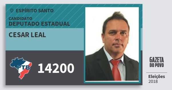 Santinho Cesar Leal 14200 (PTB) Deputado Estadual | Espírito Santo | Eleições 2018