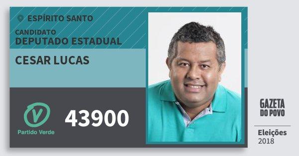 Santinho Cesar Lucas 43900 (PV) Deputado Estadual | Espírito Santo | Eleições 2018