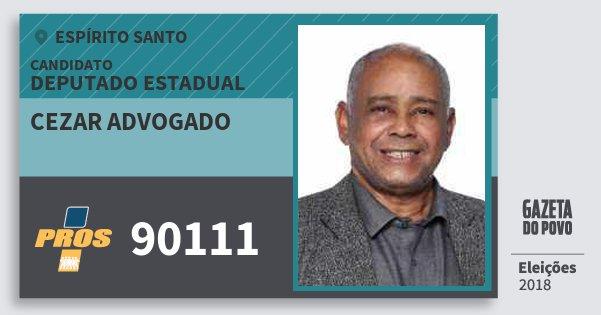 Santinho Cezar Advogado 90111 (PROS) Deputado Estadual | Espírito Santo | Eleições 2018