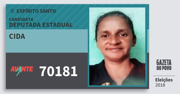 Santinho Cida 70181 (AVANTE) Deputada Estadual | Espírito Santo | Eleições 2018