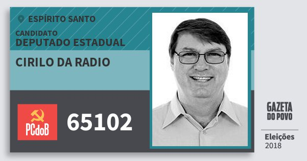 Santinho Cirilo da Radio 65102 (PC do B) Deputado Estadual | Espírito Santo | Eleições 2018