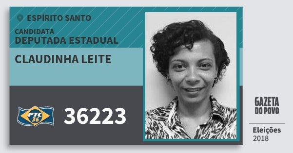 Santinho Claudinha Leite 36223 (PTC) Deputada Estadual | Espírito Santo | Eleições 2018
