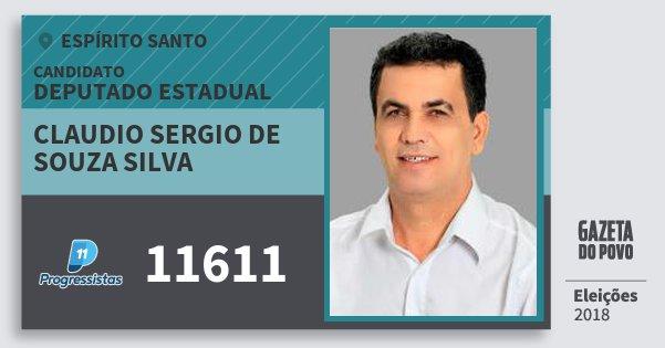 Santinho Claudio Sergio de Souza Silva 11611 (PP) Deputado Estadual | Espírito Santo | Eleições 2018