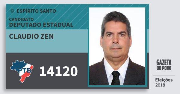Santinho Claudio Zen 14120 (PTB) Deputado Estadual | Espírito Santo | Eleições 2018