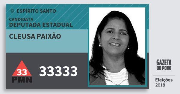 Santinho Cleusa Paixão 33333 (PMN) Deputada Estadual | Espírito Santo | Eleições 2018