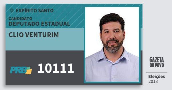 Santinho Clio Venturim 10111 (PRB) Deputado Estadual | Espírito Santo | Eleições 2018