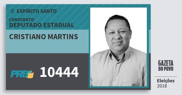 Santinho Cristiano Martins 10444 (PRB) Deputado Estadual | Espírito Santo | Eleições 2018