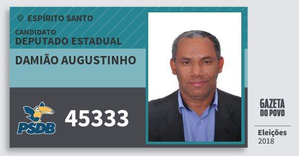 Santinho Damião Augustinho 45333 (PSDB) Deputado Estadual | Espírito Santo | Eleições 2018