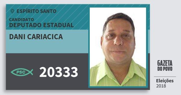 Santinho Dani Cariacica 20333 (PSC) Deputado Estadual | Espírito Santo | Eleições 2018