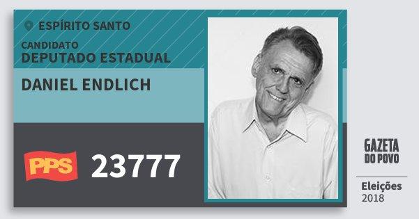 Santinho Daniel Endlich 23777 (PPS) Deputado Estadual | Espírito Santo | Eleições 2018