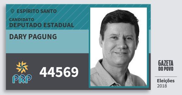 Santinho Dary Pagung 44569 (PRP) Deputado Estadual | Espírito Santo | Eleições 2018