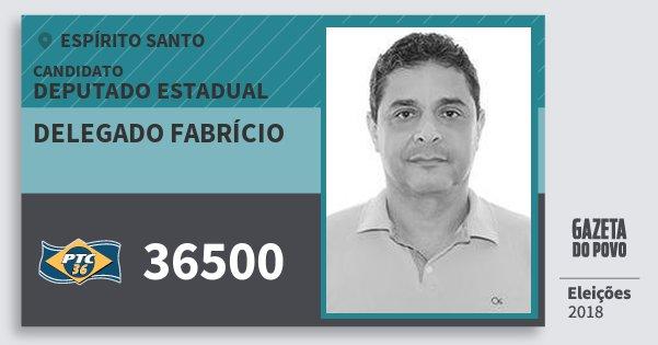 Santinho Delegado Fabrício 36500 (PTC) Deputado Estadual | Espírito Santo | Eleições 2018