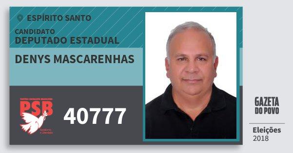 Santinho Denys Mascarenhas 40777 (PSB) Deputado Estadual | Espírito Santo | Eleições 2018