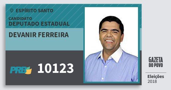 Santinho Devanir Ferreira 10123 (PRB) Deputado Estadual | Espírito Santo | Eleições 2018