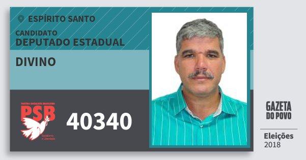 Santinho Divino 40340 (PSB) Deputado Estadual | Espírito Santo | Eleições 2018