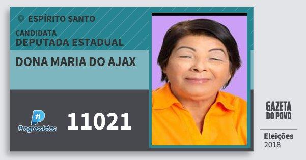 Santinho Dona Maria do Ajax 11021 (PP) Deputada Estadual | Espírito Santo | Eleições 2018