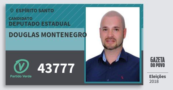 Santinho Douglas Montenegro 43777 (PV) Deputado Estadual | Espírito Santo | Eleições 2018