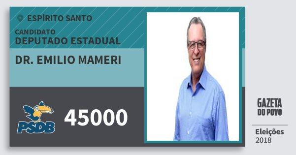 Santinho Dr. Emilio Mameri 45000 (PSDB) Deputado Estadual | Espírito Santo | Eleições 2018