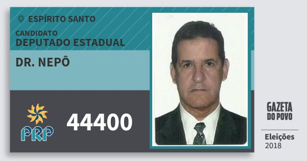 Santinho Dr. Nepô 44400 (PRP) Deputado Estadual | Espírito Santo | Eleições 2018