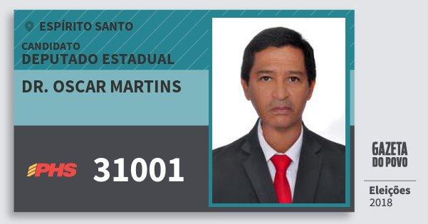 Santinho Dr. Oscar Martins 31001 (PHS) Deputado Estadual | Espírito Santo | Eleições 2018