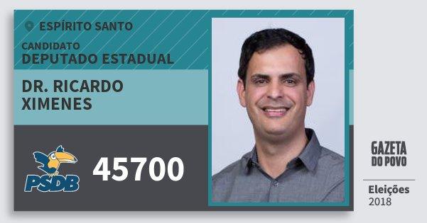 Santinho Dr. Ricardo Ximenes 45700 (PSDB) Deputado Estadual | Espírito Santo | Eleições 2018