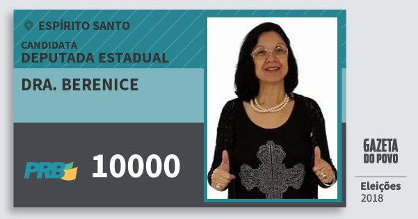 Santinho Dra. Berenice 10000 (PRB) Deputada Estadual | Espírito Santo | Eleições 2018