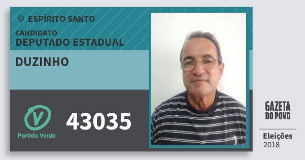Santinho Duzinho 43035 (PV) Deputado Estadual | Espírito Santo | Eleições 2018
