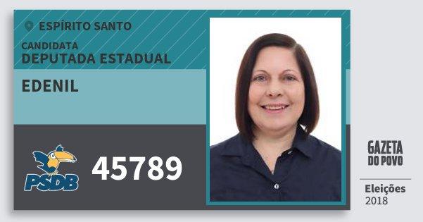 Santinho Edenil 45789 (PSDB) Deputada Estadual | Espírito Santo | Eleições 2018