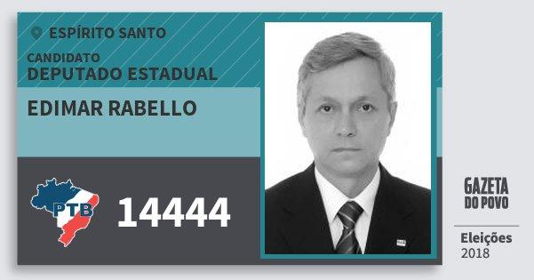 Santinho Edimar Rabello 14444 (PTB) Deputado Estadual | Espírito Santo | Eleições 2018