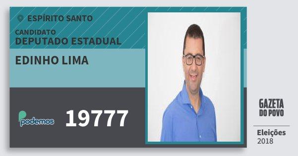 Santinho Edinho Lima 19777 (PODE) Deputado Estadual | Espírito Santo | Eleições 2018