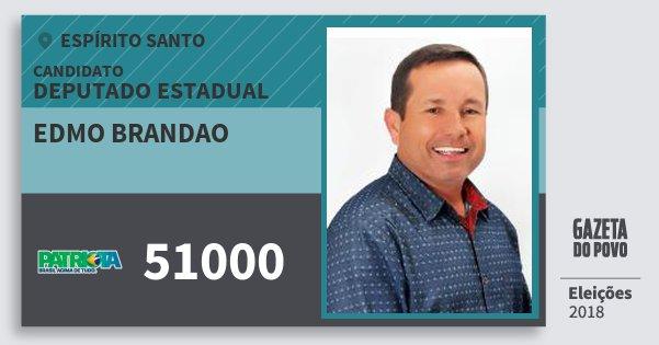 Santinho Edmo Brandao 51000 (PATRI) Deputado Estadual | Espírito Santo | Eleições 2018