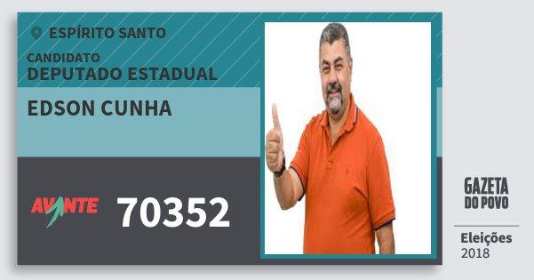 Santinho Edson Cunha 70352 (AVANTE) Deputado Estadual | Espírito Santo | Eleições 2018