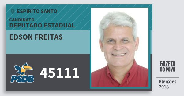 Santinho Edson Freitas 45111 (PSDB) Deputado Estadual | Espírito Santo | Eleições 2018