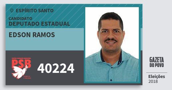 Santinho Edson Ramos 40224 (PSB) Deputado Estadual | Espírito Santo | Eleições 2018