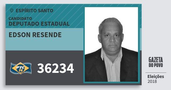 Santinho Edson Resende 36234 (PTC) Deputado Estadual | Espírito Santo | Eleições 2018
