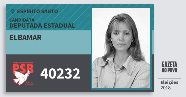 Santinho Elbamar 40232 (PSB) Deputada Estadual | Espírito Santo | Eleições 2018
