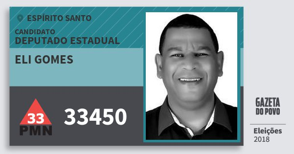 Santinho Eli Gomes 33450 (PMN) Deputado Estadual | Espírito Santo | Eleições 2018