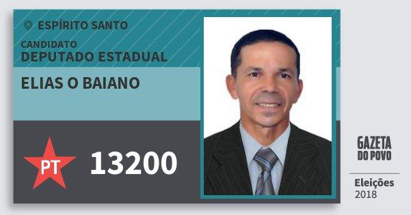 Santinho Elias O Baiano 13200 (PT) Deputado Estadual | Espírito Santo | Eleições 2018